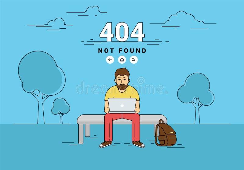 Bemannen Sie mit gefundenem Fehler der Seite des Laptops 404 nicht vektor abbildung