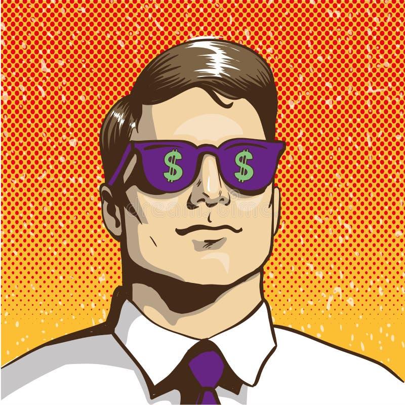 Bemannen Sie mit Sonnenbrilledollarzeichen Vektorillustration in der Retro- Pop-Arten-Art Getrennt auf Weiß stock abbildung