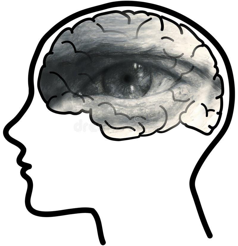 Bemannen Sie Profil mit sichtbarem Gehirn und grauem Auge vektor abbildung