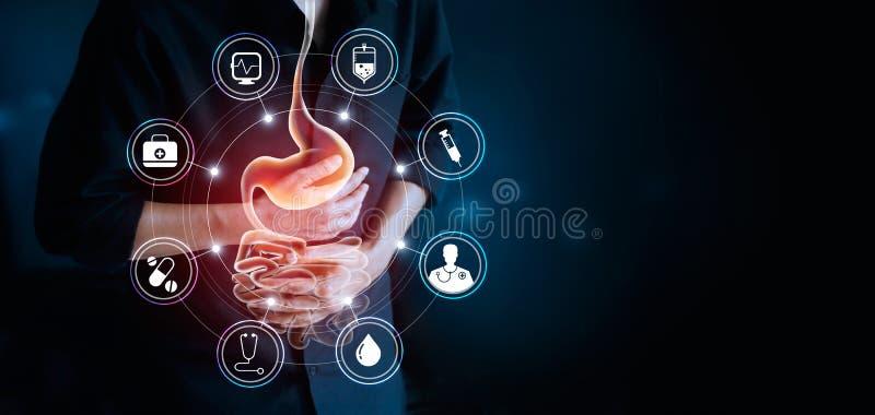 Bemannen Sie rührenden Magen und medizinische die Ikone und Magenschmerzen erleiden stockfoto