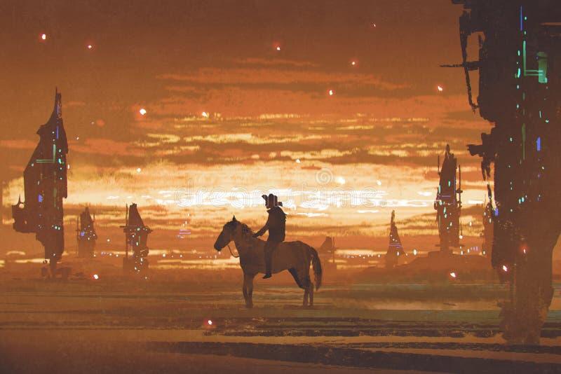 Bemannen Sie Reitpferd gegen futuristische Stadt in der Wüste lizenzfreie abbildung