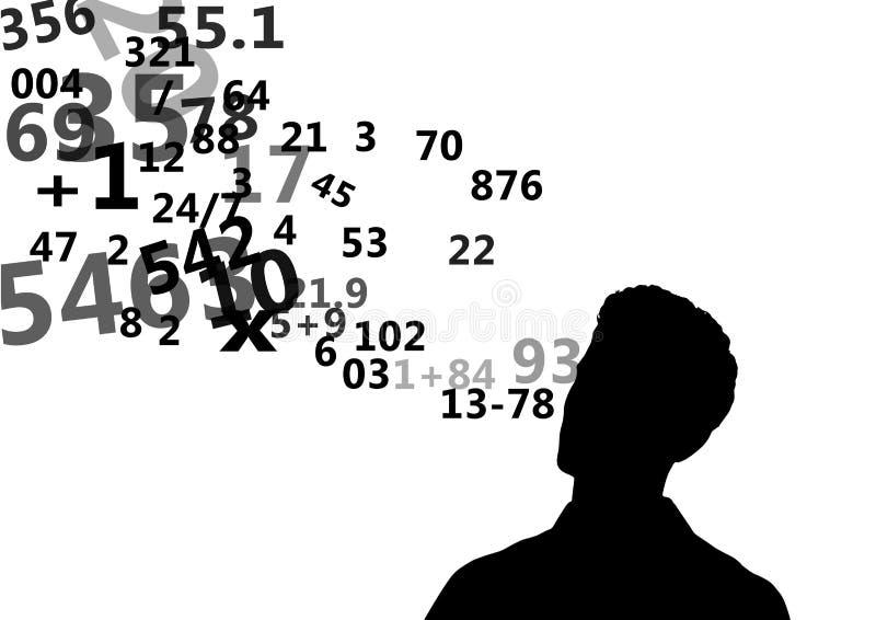 bemannen Sie Schattenbild mit den Zahlen, die von seinem Kopf aufkommen vektor abbildung