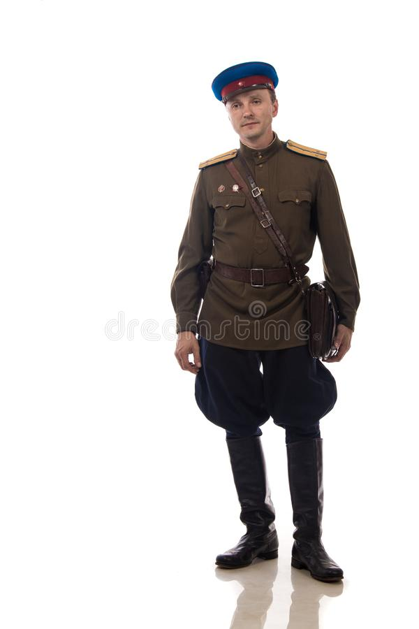 Bemannen Sie Schauspieler in Form einer Offizierkapitän People ` s Intendantur von inneren Angelegenheiten von Russland vom Zeitr stockfotografie