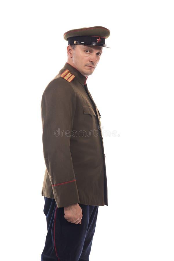Bemannen Sie Schauspieler in Form einer Offizierkapitän People ` s Intendantur von inneren Angelegenheiten von Russland vom Zeitr lizenzfreie stockbilder