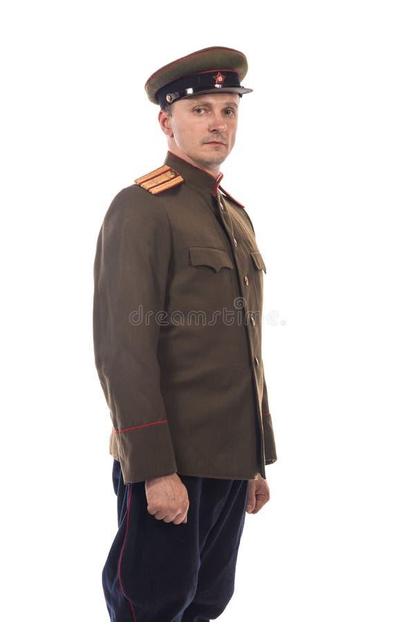 Bemannen Sie Schauspieler in Form einer Offizierkapitän People ` s Intendantur von inneren Angelegenheiten von Russland vom Zeitr stockfotos