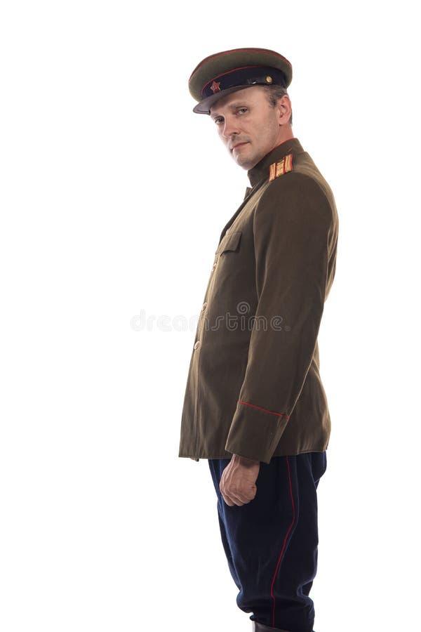 Bemannen Sie Schauspieler in Form einer Offizierkapitän People ` s Intendantur von inneren Angelegenheiten von Russland vom Zeitr lizenzfreies stockfoto