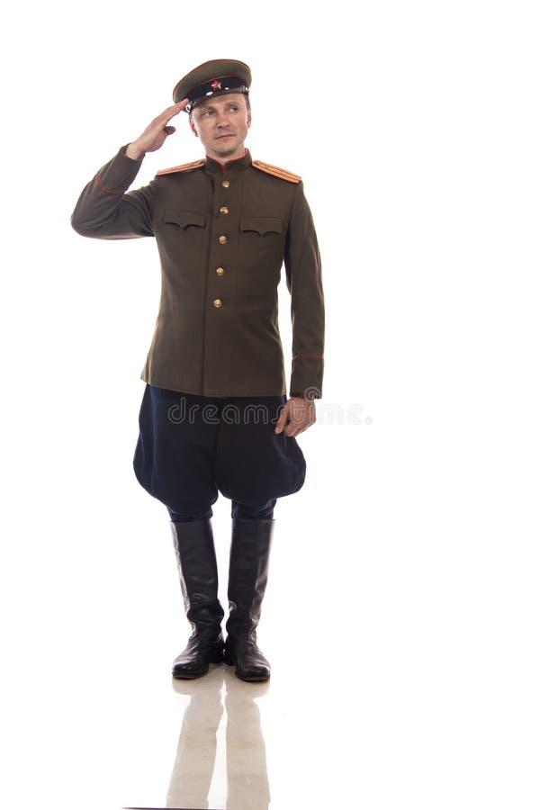 Bemannen Sie Schauspieler in Form einer Offizierkapitän People ` s Intendantur von inneren Angelegenheiten von Russland vom Zeitr lizenzfreie stockfotos