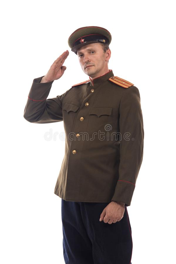Bemannen Sie Schauspieler in Form einer Offizierkapitän People ` s Intendantur von inneren Angelegenheiten von Russland vom Zeitr stockfoto