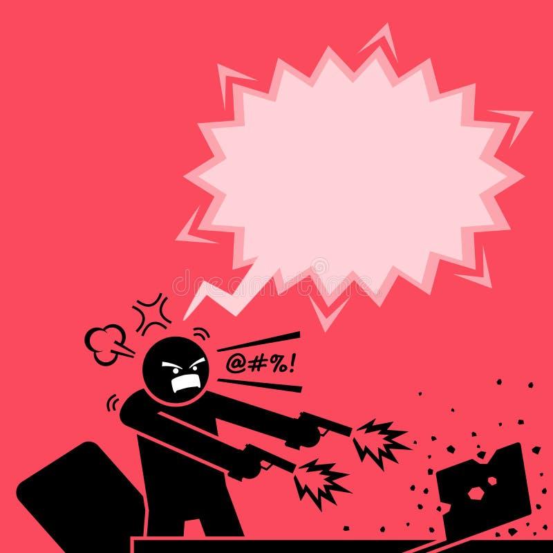 Bemannen Sie Schießen an einem Computer mit zwei Gewehren, weil er am Laptop sehr verärgert ist lizenzfreie abbildung