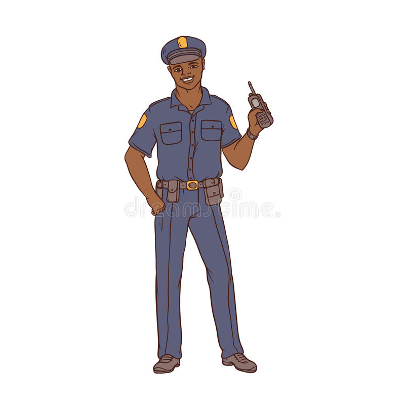 Bemannen Sie schwarzen Polizisten in der Uniform und in der Kappe mit einem portablen Radio in der Hand Arbeitskraftsicherheit un lizenzfreie abbildung