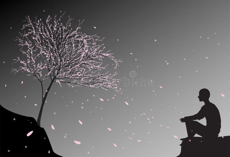 Bemannen Sie sitzt auf dem Felsen, betrachtet fallende Kirschrosablätter und denkt an Richtung des Menschenlebens, Zenmeditation  lizenzfreie abbildung