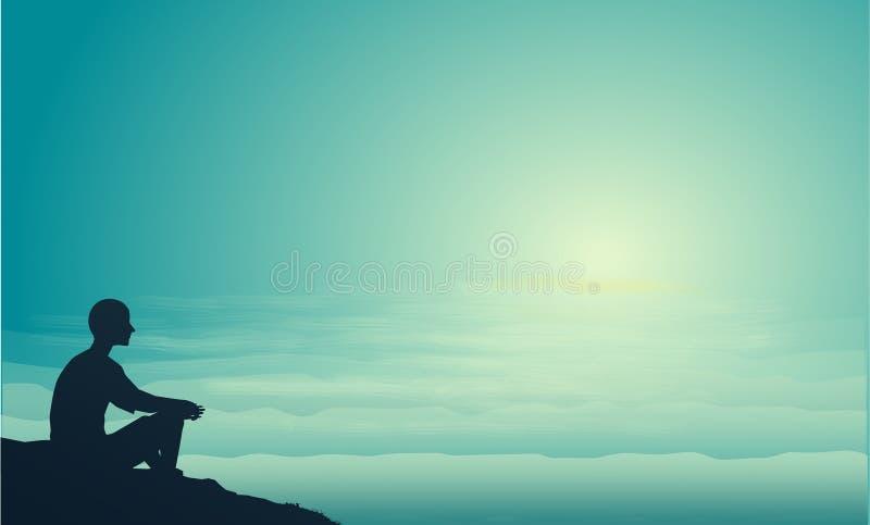 Bemannen Sie sitzt auf dem Seefelsenblick an der Sonne und denkt, denkt an Richtung des Lebens, Mannschattenbild stock abbildung