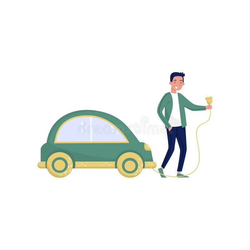 Bemannen Sie stehendes folgendes grünes Elektroauto, eco freundliche alternative Transporter-Vektor Illustration auf einem Weiß lizenzfreie abbildung