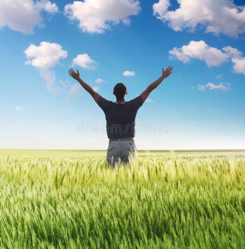 Bemannen Sie Stellung auf dem grünen Feld unter Himmel lizenzfreie stockbilder