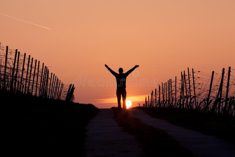 Bemannen Sie Stellung im Sonnenuntergang mit den Armen in einer Luft stockfoto