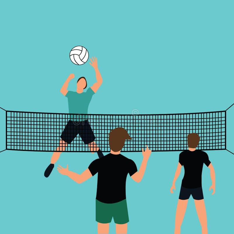 Bemannen Sie Teamspielflugball vor Gericht mit springendem überwältigendem Verteidigungssport des Netzes vektor abbildung