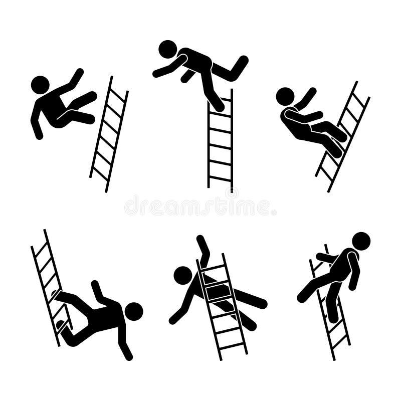Bemannen Sie weg fallen eine Leiterstockzahl Piktogramm Verschiedene Positionen des gesetzten Symbols der Fliegenpersonenikone po lizenzfreie abbildung