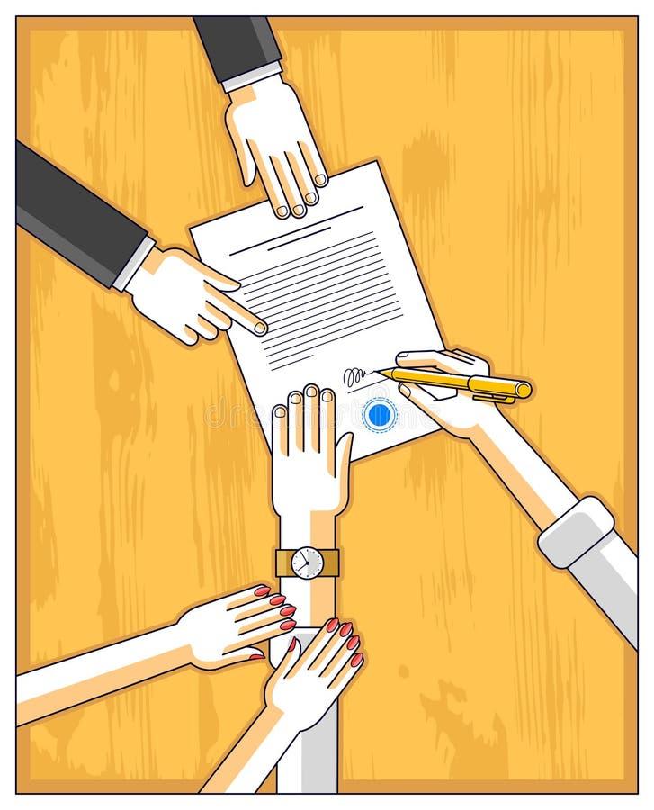 Bemannen Sie Zeichenfinanzdokument und seine Frau hilft ihm, sich zu zu trauen stock abbildung