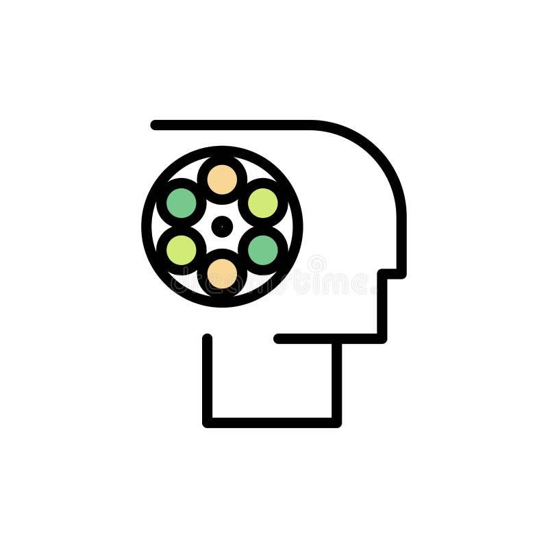 Bemanning, Film, Baan, Film, Pictogram van de Personeels het Vlakke Kleur Het vectormalplaatje van de pictogrambanner vector illustratie