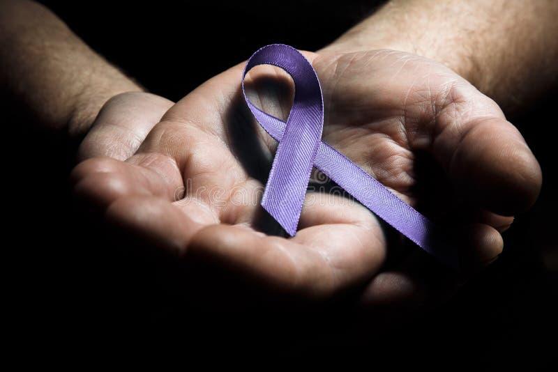 Bemannt die Hände, die purpurrotes Bewusstseinsband der häuslichen Gewalt halten lizenzfreie stockfotografie