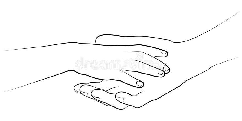 Bemannt die Hand, die eine childs Palme hält Blumenhintergrund mit Gras lizenzfreie abbildung