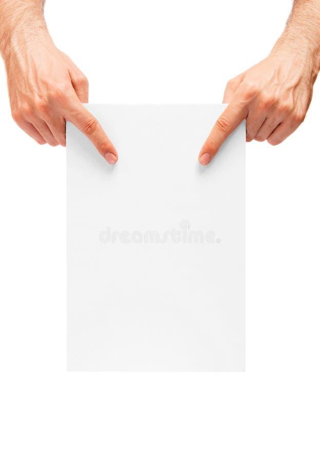 Bemannt ` Hände, die eine leere Anschlagtafel zeigen stockfotos