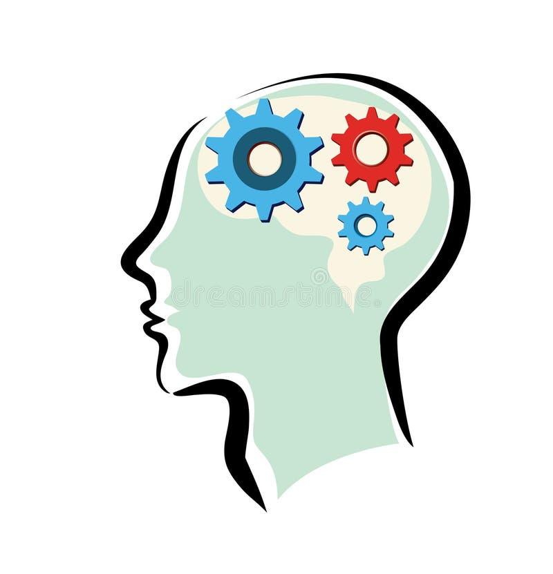 Bemant hoofd met hersenen en het denken proces stock illustratie