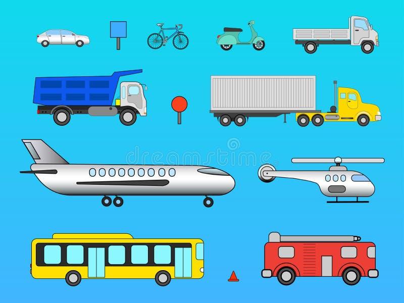 Bemedlade transport och avia för vektor fastställd vektor illustrationer