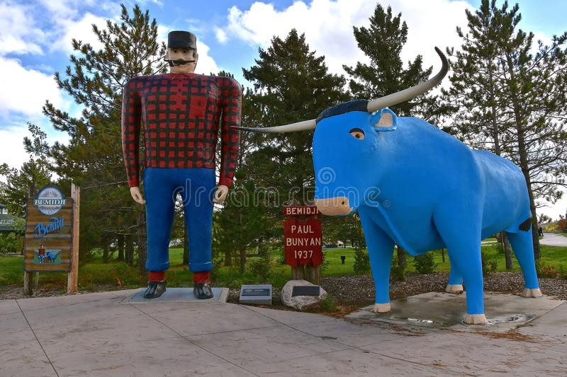 Babe the Blue Ox and Paul Bunyan. BEMIDJI, MINNESOTA, October 1, 2017: The legendary Paul Bunyan statute is a tourist attraction run by the parks system of royalty free stock photo