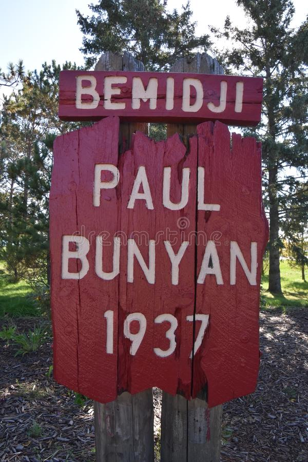 Paul Bunyan, the Lumberjack. BEMIDJI, MINNESOTA, September 26, 2017: The legendary Paul Bunyan and Babe statutes in the park background are a tourist attraction royalty free stock photography