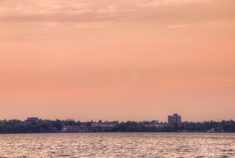 Bemidji, Minnesota on a Summer Day. Bemidji is a small town on Lake Bemidji in Northern Minnesota stock photo