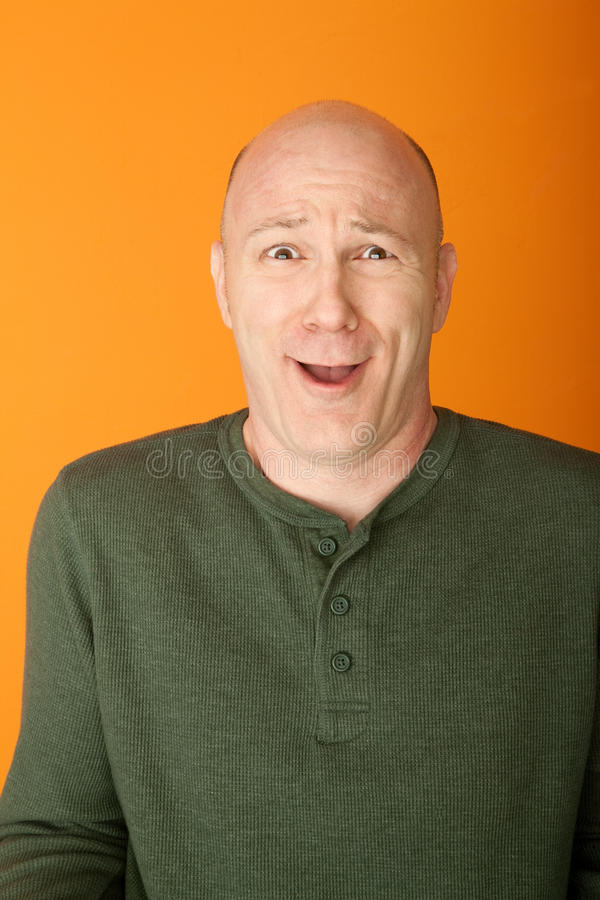 Download Bemused Bald Caucasian Man stock photo. Image of expression - 18979824