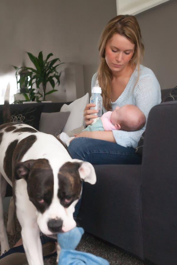 Bemuttern Sie Begüterte nur ein Auge für das Baby stockfoto