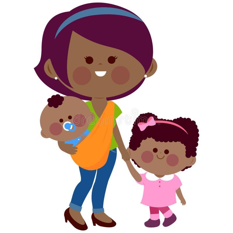 Bemuttern Sie das Halten ihrer daughter's Hand und das Tragen ihres Babys in einem Riemen vektor abbildung