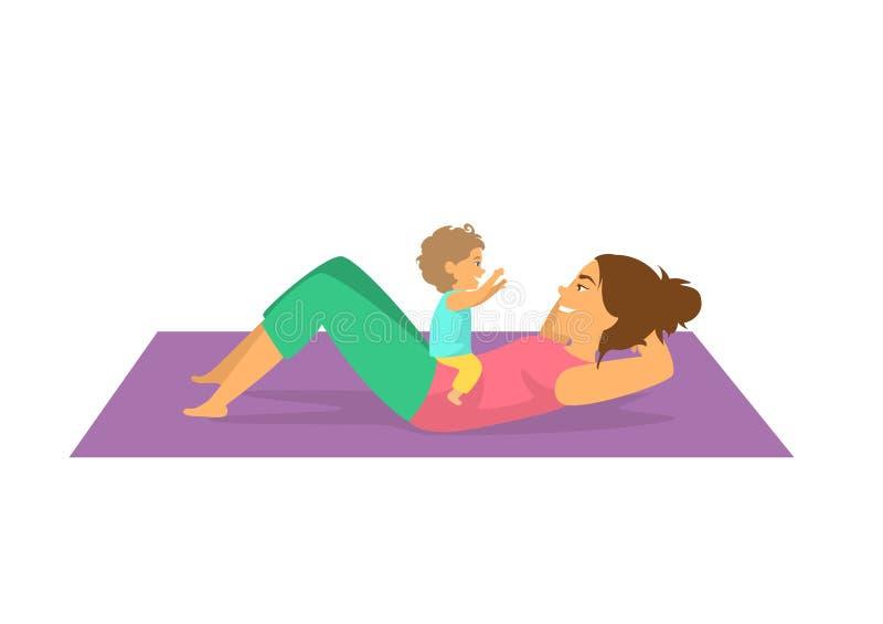 Bemuttern Sie das Trainieren zusammen mit ihrem Baby, die Frau, die postnatales Training tut stock abbildung