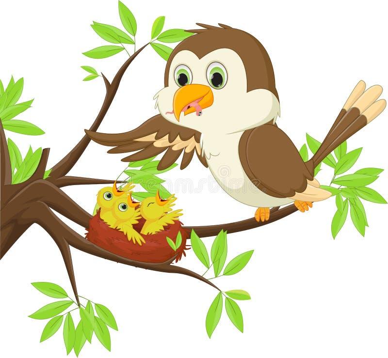 Bemuttern Sie den Vogel, der ihrem Sohn im Nest einen Wurm einzieht vektor abbildung