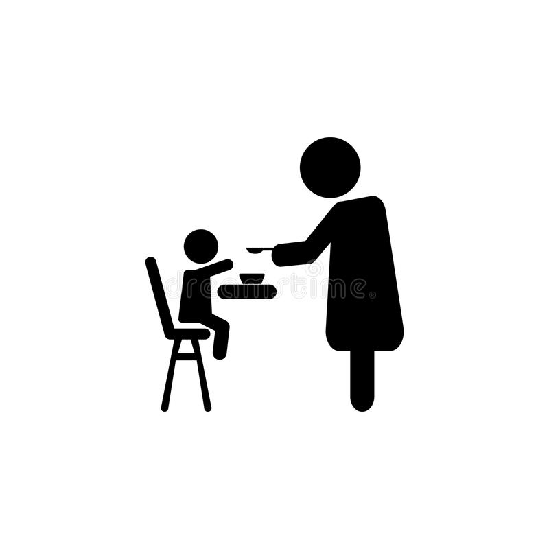 Bemuttern Sie die Fütterung ihres Babykindes, das auf den Kindern sitzt, die Stuhl essen stock abbildung