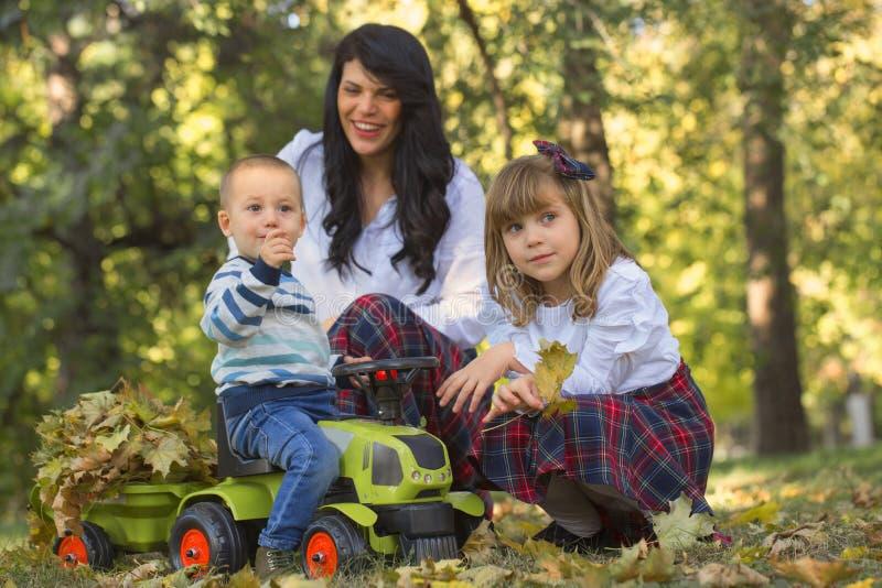 Bemuttern Sie Spiele mit ihren Kindern im Park im Herbst stockbild