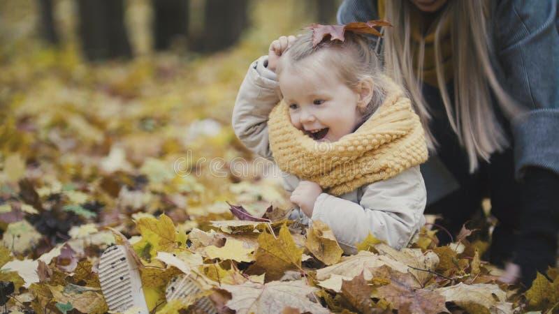 Bemuttern Sie und ihr kleines Mädchen der Tochter, das in einem Herbstpark spielt - werfen Sie die Blätter, Babygelächter stockfotos