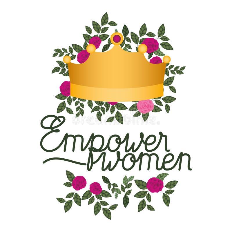 Bemyndiga kvinnor märker med den rosor isolerade symbolen stock illustrationer