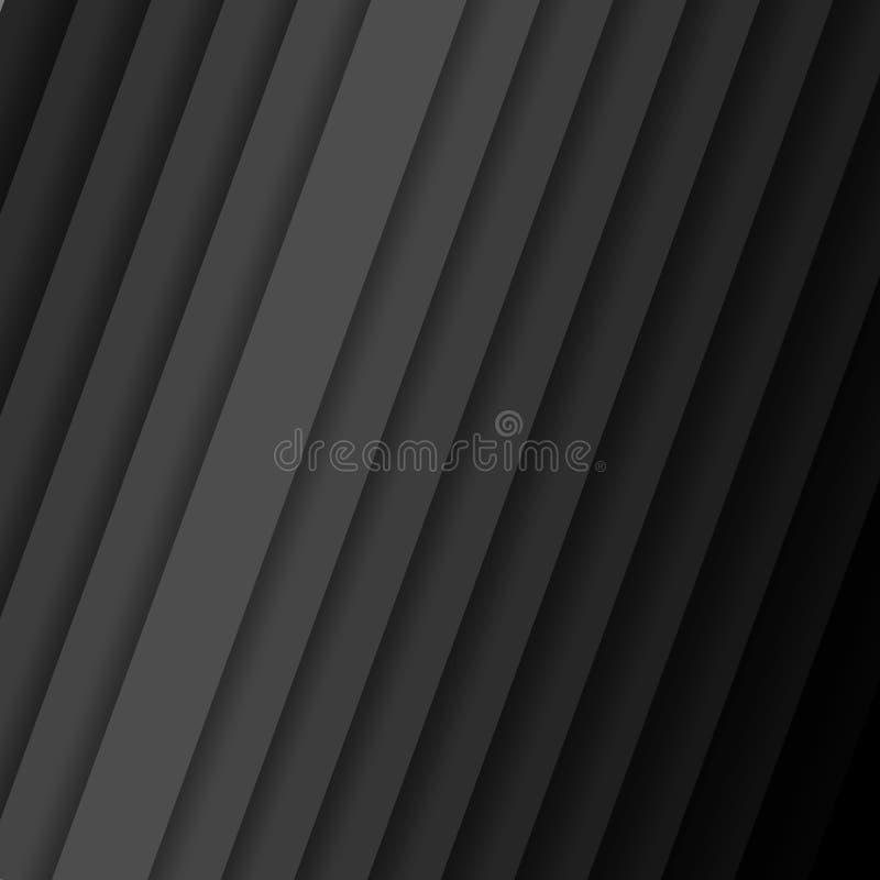 Benägna vektorremsor med den abstrakta mörka bakgrundsmodellen för skugga med diagonala band från grå färger till den svarta färg royaltyfri illustrationer