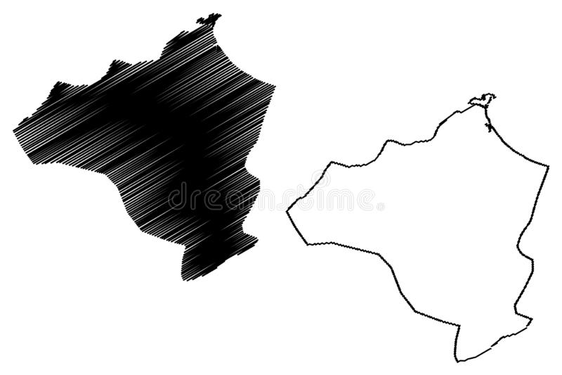 Ben Arous Governorate Governorates of Tunisia, Republic of Tunisia map vector illustration, scribble sketch Ben Arous map.  royalty free illustration
