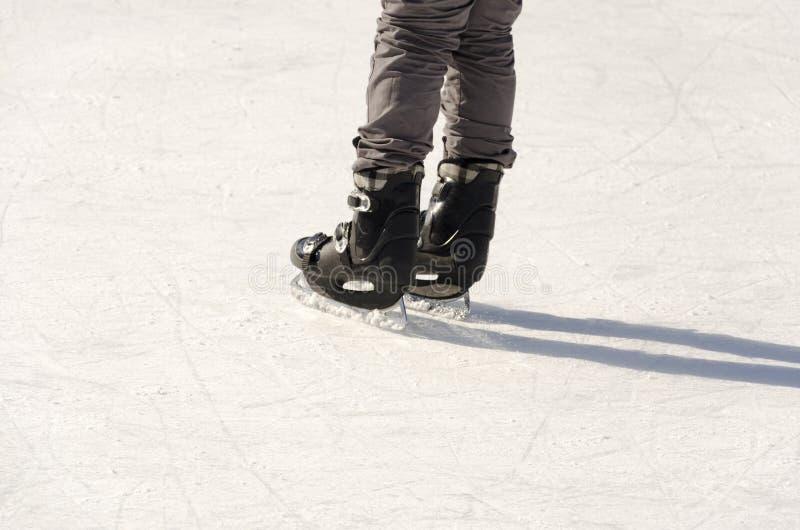 Ben av isskateboradåkaren på isisbana royaltyfri bild