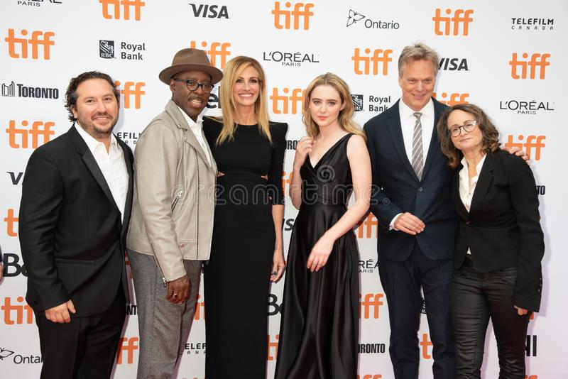 Cast and crew at premiere of `Ben Is Back`, at Toronto International Film Festival 2018. Ben Is Back crew and cast at tiff2018 Toronto international film stock photography