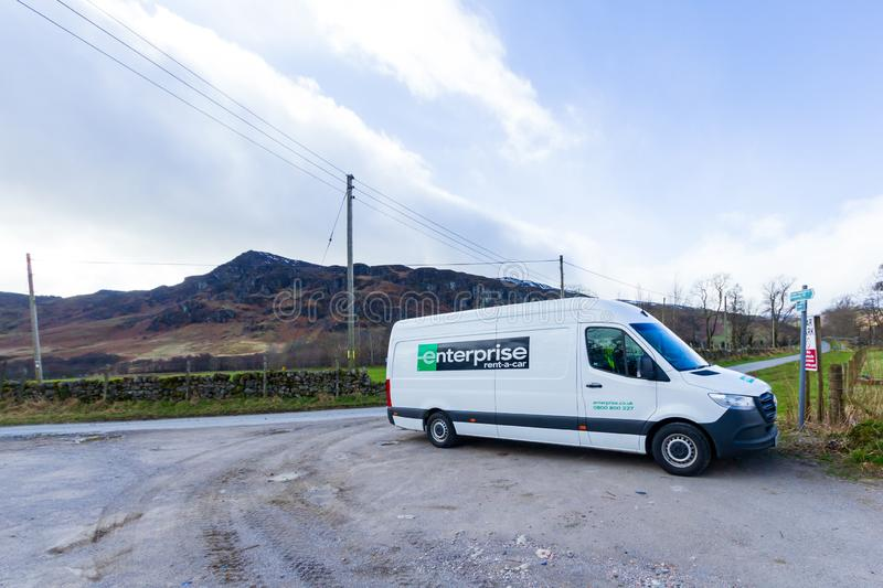 Ben Chonzie, Perth and Kinross/ United Kingdom - March 14, 2019: A view of an Enterprise white extra large van commercial. On a rural parking in the Scottish stock photo