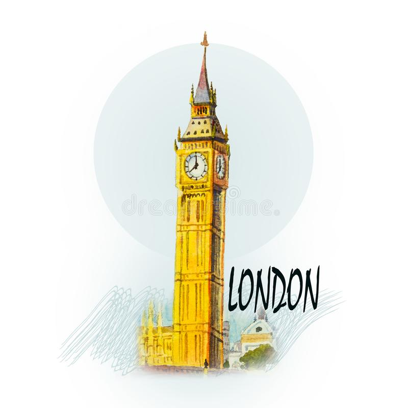 Ben Clock Tower grande em Londres em Inglaterra ilustração royalty free