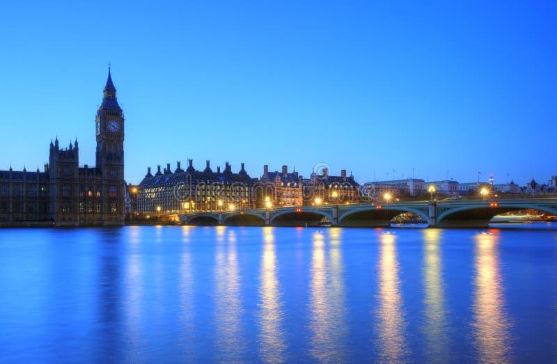 ben duży London noc parlamentu linia horyzontu fotografia stock