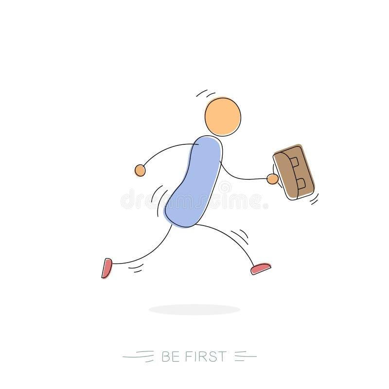 Ben eerste - tekenings lopende mens vector illustratie