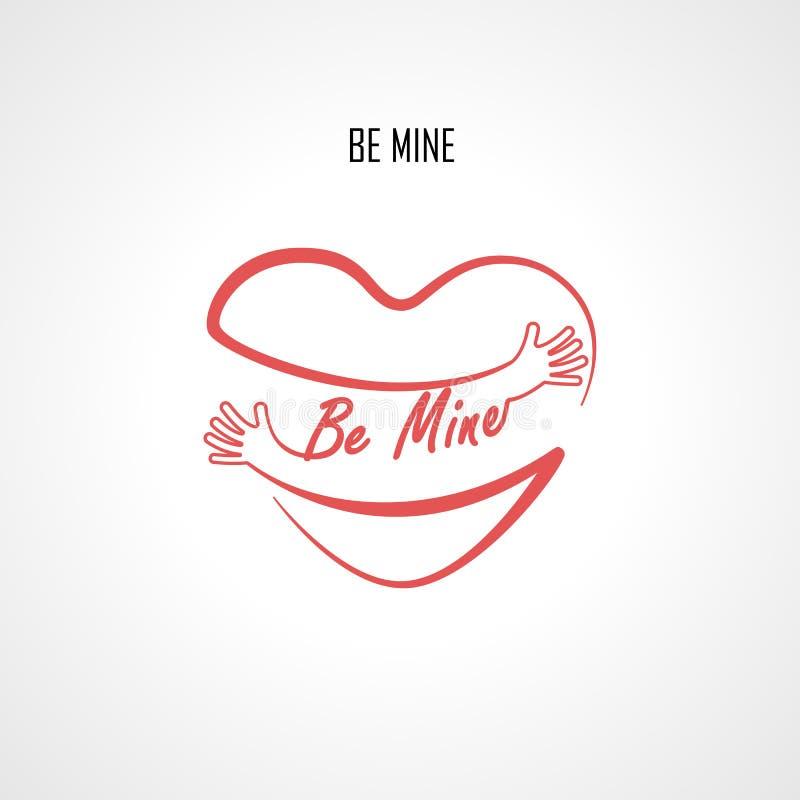 Ben elementen van het Mijn de typografische ontwerp en de Rode hartvorm met hand omhelst Omhelzingen en Liefde zelf teken stock illustratie
