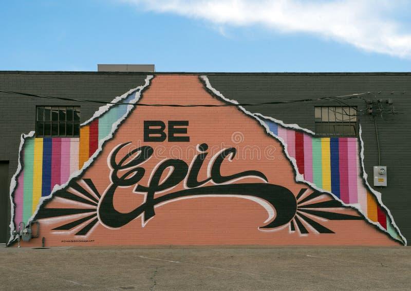 Ben Epische muurschildering door Chris Bingham, Dallas Design District royalty-vrije stock afbeelding